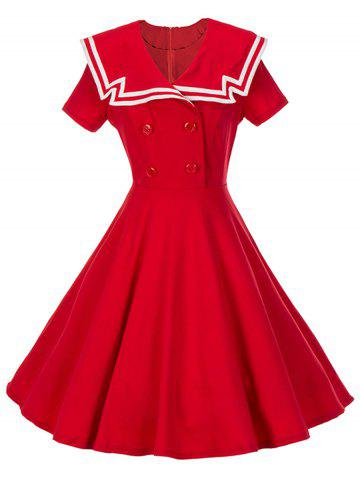 Chic Vintage Buttoned Sailor Collar Skater Swing Dress
