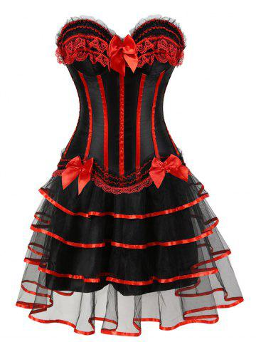 Outfit Two Piece Lace-up Flounce Corset Dress