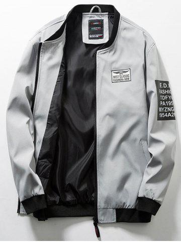 Zip Up Flag Patch Casual Bomber Jacket
