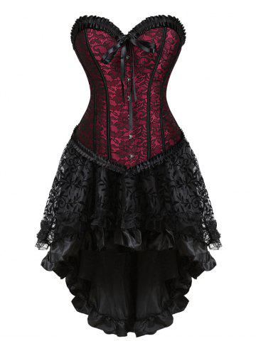 Discount Lace-up Flounce Two Piece Corset Dress