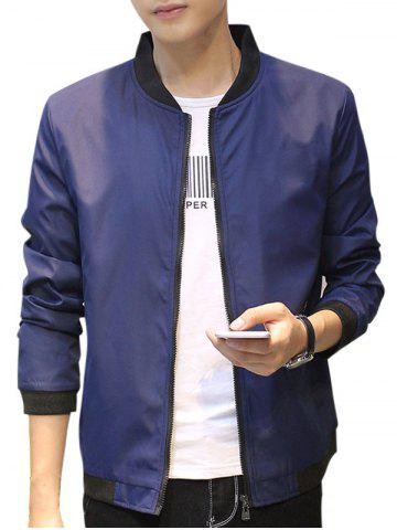 Zip Up Contrast Trip Casual Bomber Jacket