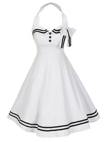 Shops Vintage Bowknot Backless Halter Skater Pin Up Dress