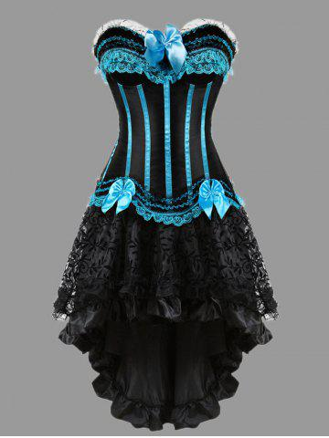 Fancy Two Piece Flounce Plus Size Corset Dress