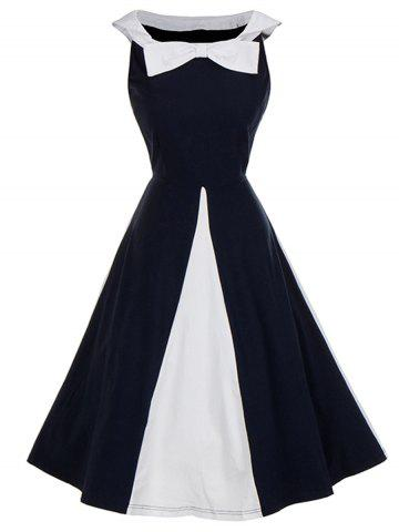 Buy Vintage Bow Tie Color Block Pin Up Dress