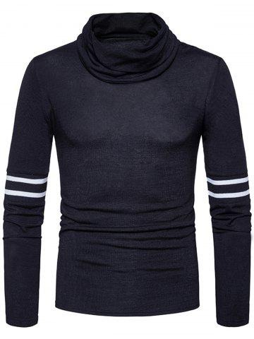 Chic Stripe Rib Panel Turtle Neck Knitted Sweater