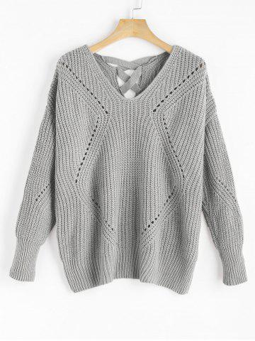 Outfit V Neck Criss Cross Sheer Sweater