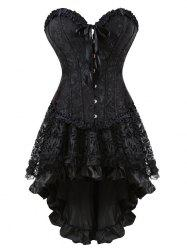 Flounce Two Piece Lace-up Corset Dress - Black - 2xl