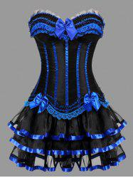 Two Piece Plus Size Ruffles Corset Dress - BLUE 6XL