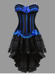 Two Piece Flounce Plus Size Corset Dress - Blue - 6xl