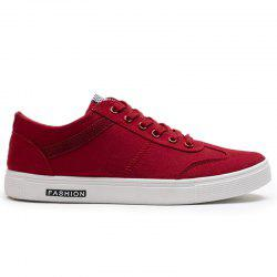 Zigzag Embroidered Low Top Skate Shoes - RED 43