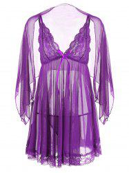 Mesh Sheer Slip Babydoll - PURPLE XL