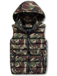 Zip Up Hooded Camo Quilted Vest - ARMY GREEN L
