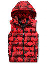 Zip Up Hooded Camo Quilted Vest - RED L