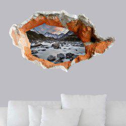 3D Hole Floor Sticker Snow Mountain Stone Stream Wall Decal -