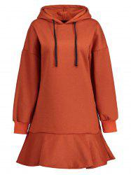 Plus Size  Drop Waist Fleece Lined Hoodie Dress -