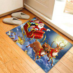 Christmas Night Santa Sleigh Pattern Anti-skid Water Absorption Area Rug - RED W16 INCH * L24 INCH