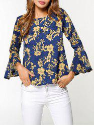 Flare Sleeve Floral Print High Low Blouse - Multicolore S