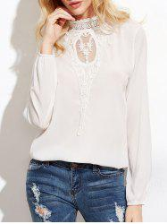 Floral Lace Panel High Neck Blouse - WHITE S