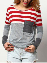 Striped Pocket Color Block T-shirt -