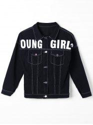 Button Up Graphic Print Denim Jacket - BLACK M