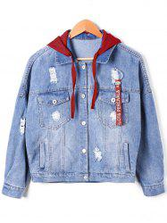 Drawstring Hooded Ripped Denim Jacket -