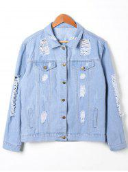 Button Up Distressed Denim Jacket -