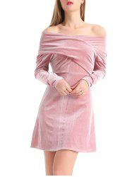 Off The Shoulder Velvet Long Sleeve Dress - PINK M
