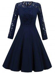 Long Sleeve Lace Insert Vintage Skater Dress -