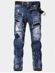 Paint Print Patch Design Ripped Jeans - BLUE 34