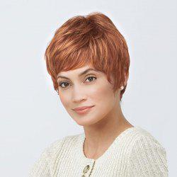 Short Inclined Bang Layered Natural Straight Human Hair Wig -