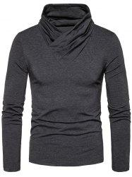 Classical Cowl Neck Long Sleeve T-shirt - DEEP GRAY 2XL