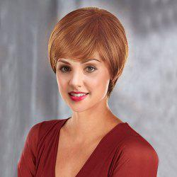 Inclined Fringe Short Straight Human Hair Wig - BROWN