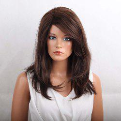 Long Inclined Bang Layered Natural Straight Heat Resistant Synthetic Wig -