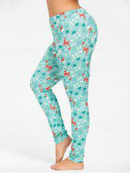 Plus Size Deer Pattern Christmas Pants -