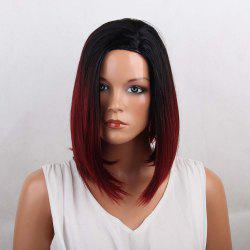 Side Parting Medium Ombre Straight Bob Synthetic Wig - COLORMIX