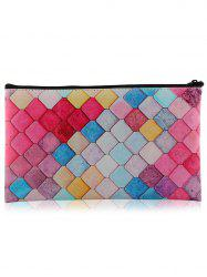 Colorful Honeycomb Zipper Makeup Tool Bag - COLORFUL