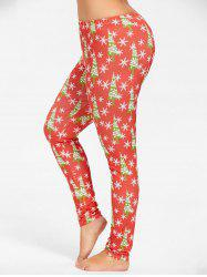 Plus Size Slim Christmas Tree Snowflake Printed Pants - RED 2XL