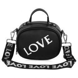 Print Letter Faux Leather Crossbody Bag - BLACK