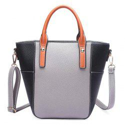 Stitching Color Blocking Rivets Crossbody Bag - GRAY