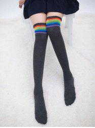 Pair of Rainbow Striped Knee Highs Socks -