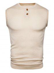 Buttons Design Crew Neck Vest - BEIGE S