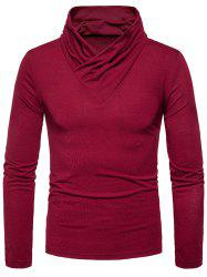 Classical Cowl Neck Long Sleeve T-shirt - WINE RED 2XL