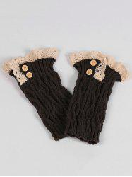 Lace Edge and Button Embellished Leg Warmers -