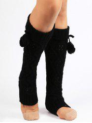 Fuzzy Ball Decorated Hollow Out Knitted Leg Warmers -