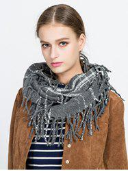 Tassel Plaid Ring Scarf -