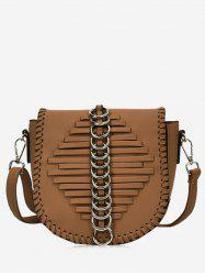 Faux Leather Whipstich Crossbody Bag -