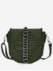 Faux Leather Whipstitch Crossbody Bag -