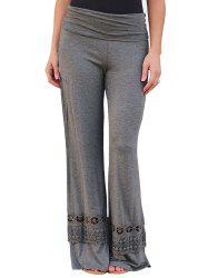 Lace Panel Wide Leg Pants - GRAY M