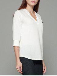 V Neck Top with Sleeves - WHITE M