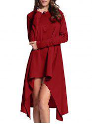 Hooded High Low Midi Dress - CLARET S